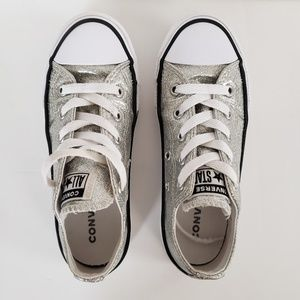 Converse All Star silver glitter kids shoes